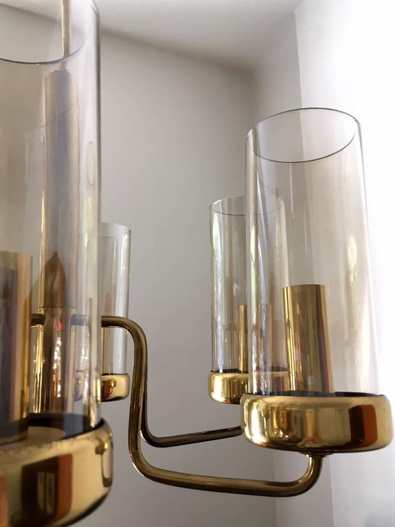 Mid-Century Modern Brass Chandelier with Six Cylindrical Glass Globes, 1960s For Sale