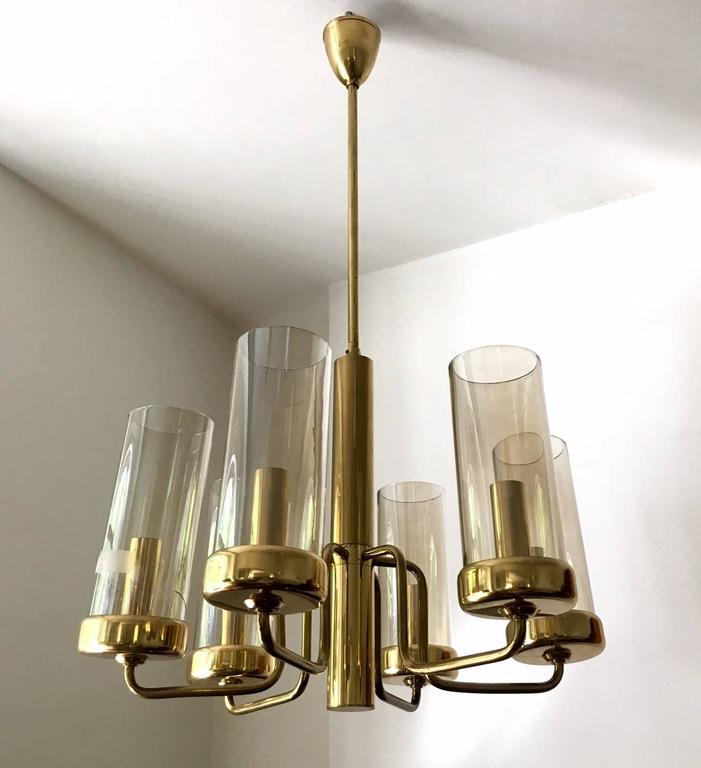 Brass Chandelier with Six Cylindrical Glass Globes, 1960s For Sale 1