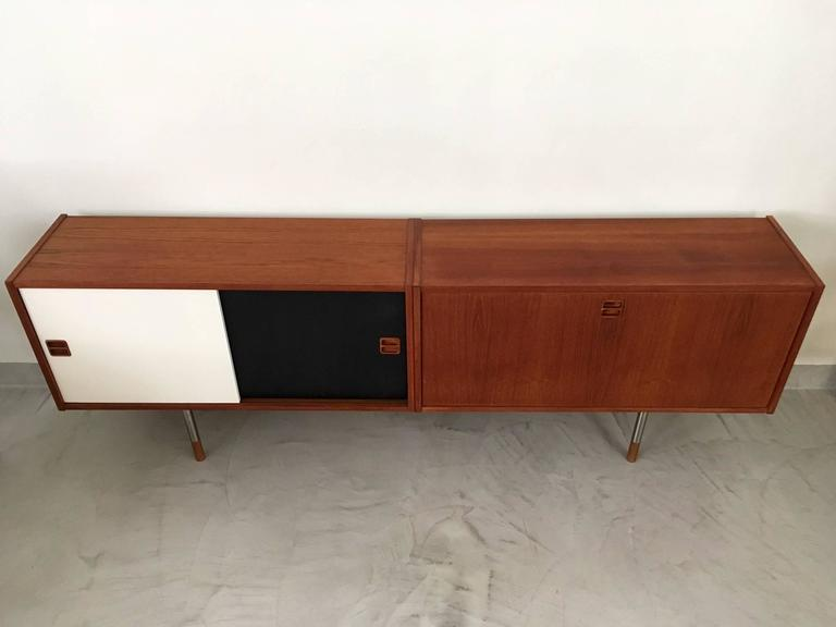 Low Mid Century Danish Sideboard With Black And White