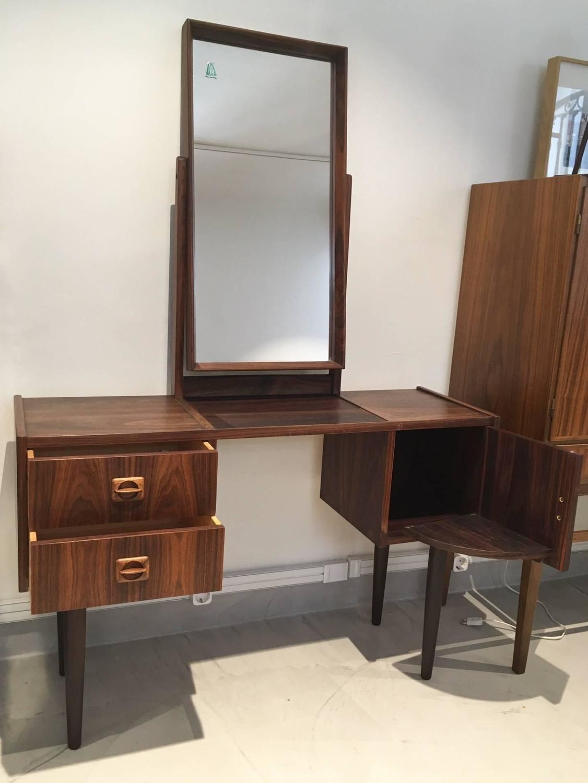 Mid century danish rosewood vanity table with mirror for for Vanity table and mirror for sale