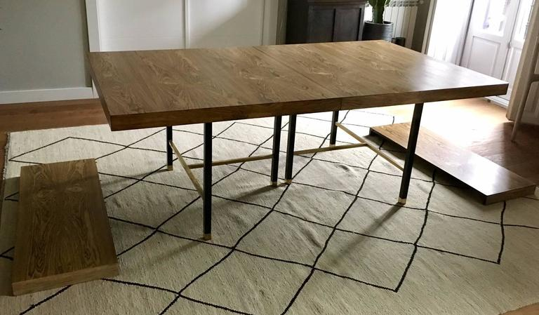 Harvey Probber Extendable Dining Table With Oak Top And Black