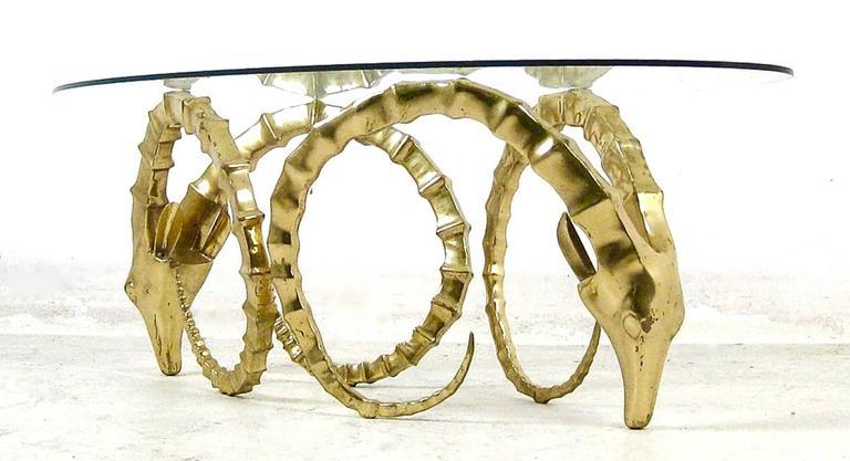 Etonnant Mid Century Modern Brass Ramu0027s Head Or Ibex Coffee Table In The Style Of  Alain
