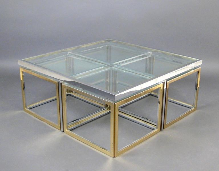 Large Glass And Metal Coffee Table Attributed To Maison Charles For Sale At 1stdibs