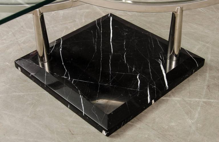 Two Level Glass Coffee Table With Chrome Frame On Marble