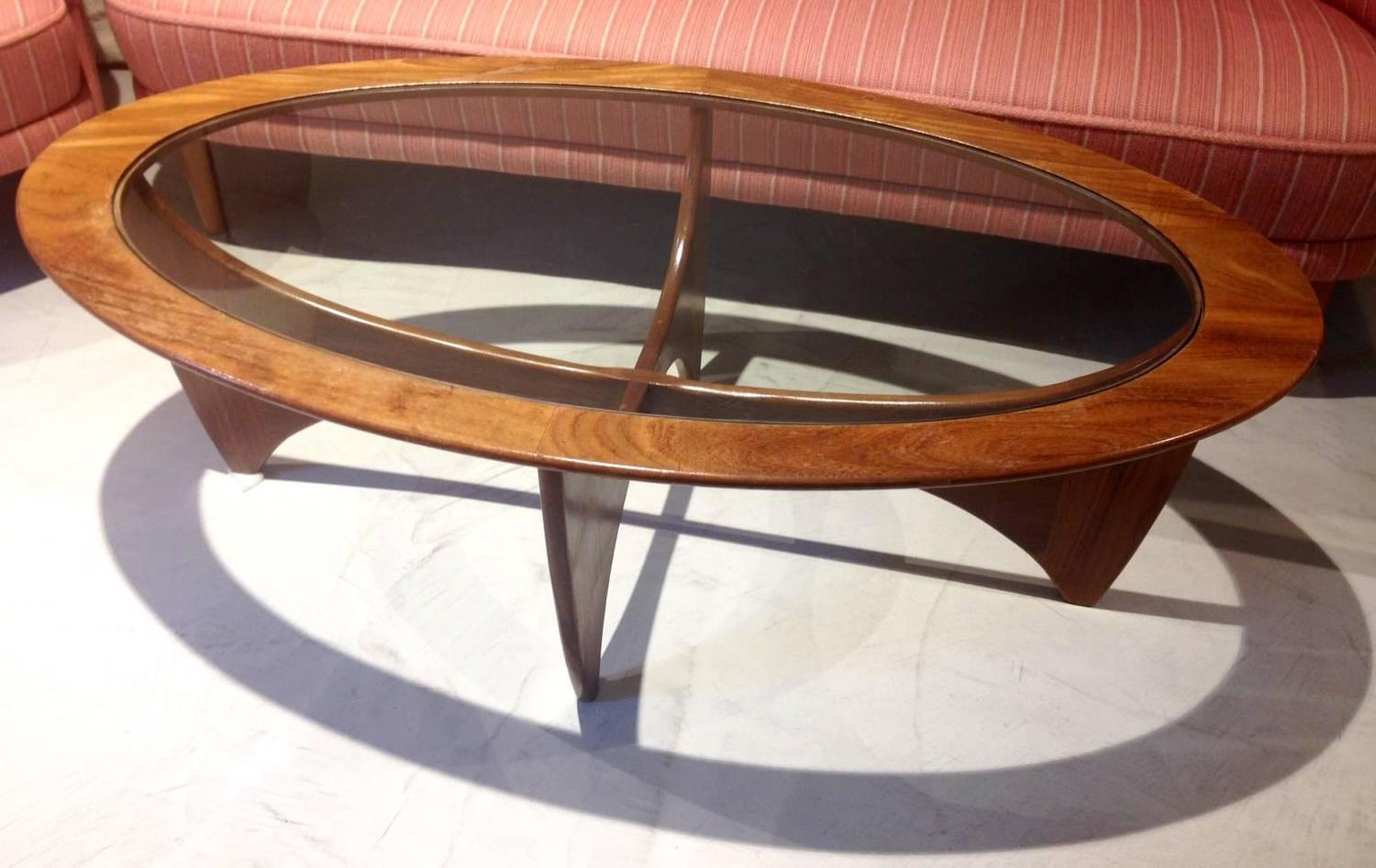 Oval teak coffee table with glass top by g plan for sale for Oval teak coffee table