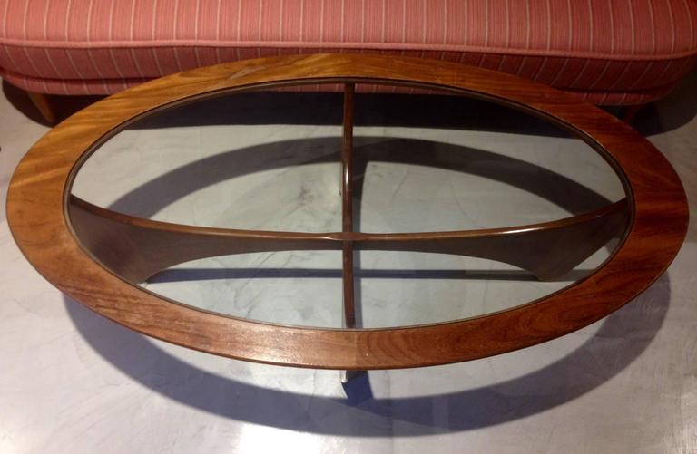 Oval Astro Teak Coffee Table With Glass Top By G Plan For