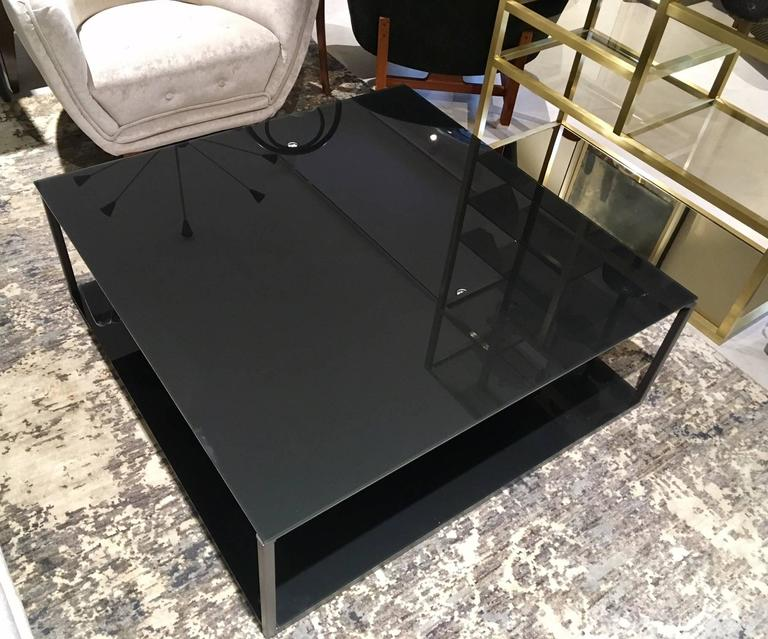 Tempered Contemporary Rectangular Coffee Table with Metal Frame and Smoked Glass Top For Sale