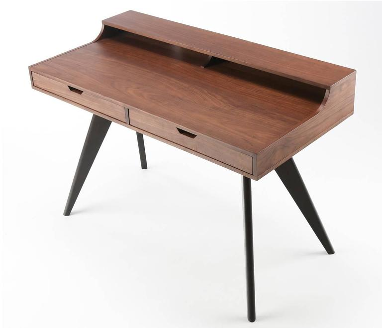 contemporary walnut and wenge veneer writing desk with two drawers at 1stdibs. Black Bedroom Furniture Sets. Home Design Ideas