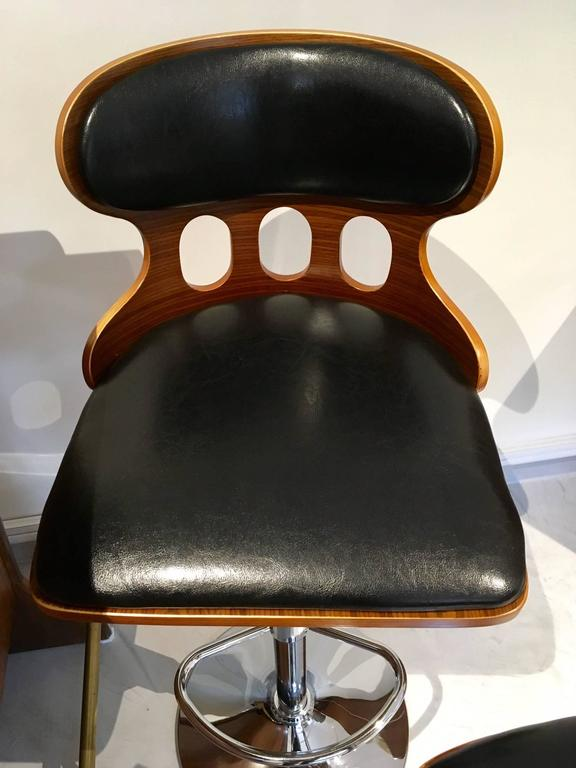 Pair Of Contemporary Bar Or Kitchen Stools With Black Seat