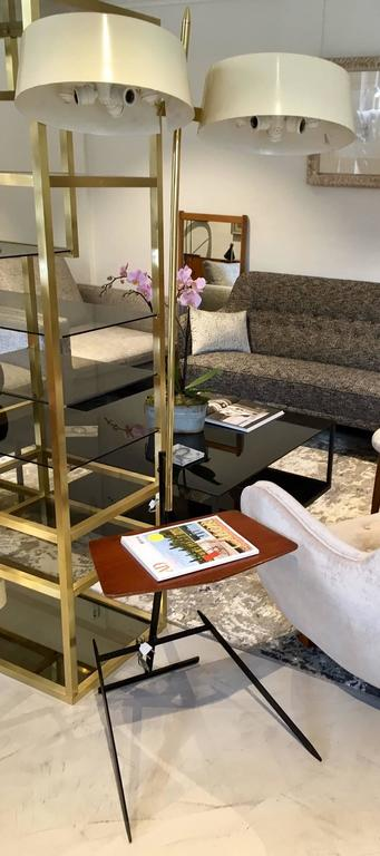 Brass and Lacquered Metal Floor Lamp with Wooden Magazine Shelf 3