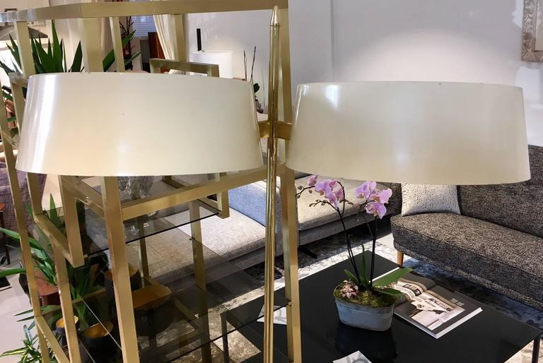 Brass and Lacquered Metal Floor Lamp with Wooden Magazine Shelf 5