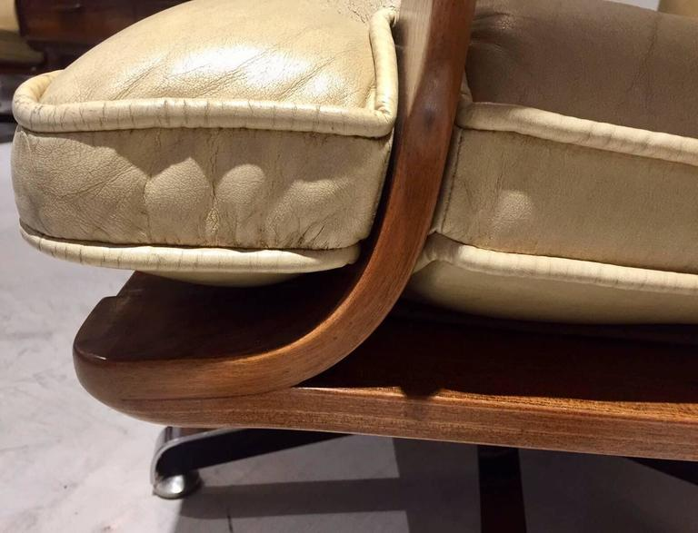 Pair of Cream-Colored Leather Swivel Armchairs with Wooden ...