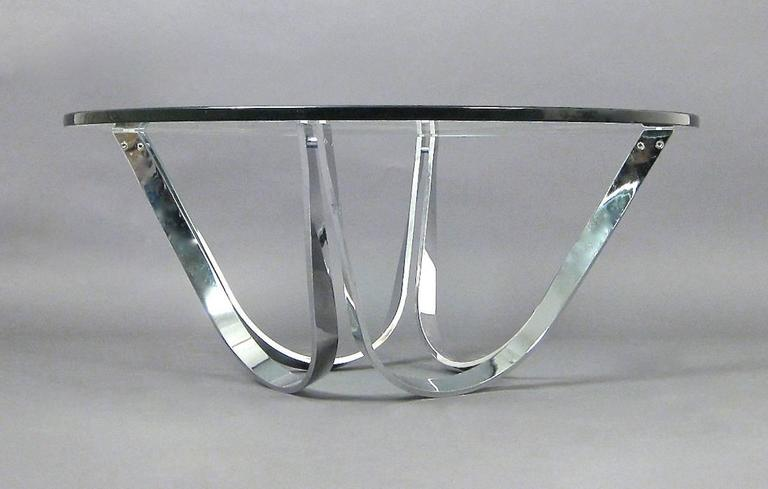 American Chrome and Glass Coffee Table Produced by Tri-Mark Designs For Sale