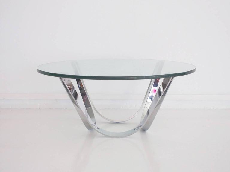 Chrome and Glass Coffee Table Produced by Tri-Mark Designs For Sale 2