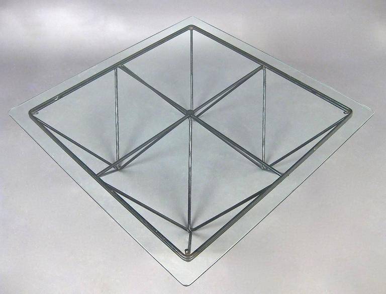"Square Glass Coffee Table in the Style of Paolo Piva's ""Alanda"" Table 2"