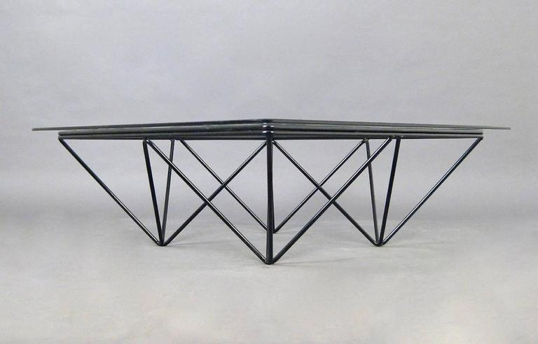 "Square Glass Coffee Table in the Style of Paolo Piva's ""Alanda"" Table 4"