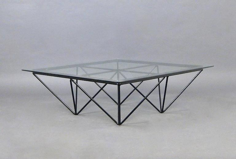"Square Glass Coffee Table in the Style of Paolo Piva's ""Alanda"" Table 3"