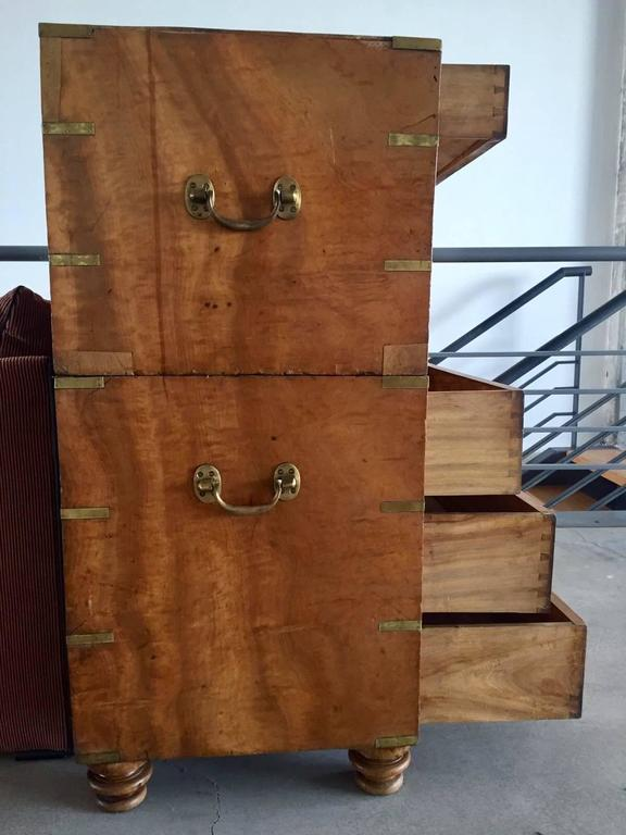 19th Century Camphorwood Campaign Chest with Brass Details For Sale 2