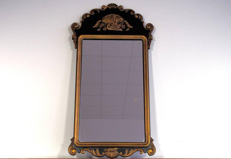 Rococo revival style mirror with black and gilded carved for Rococo style frame