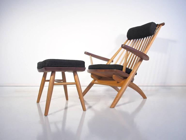 Tateishi Shoiji Oak And Walnut Easy Chair And Stool For