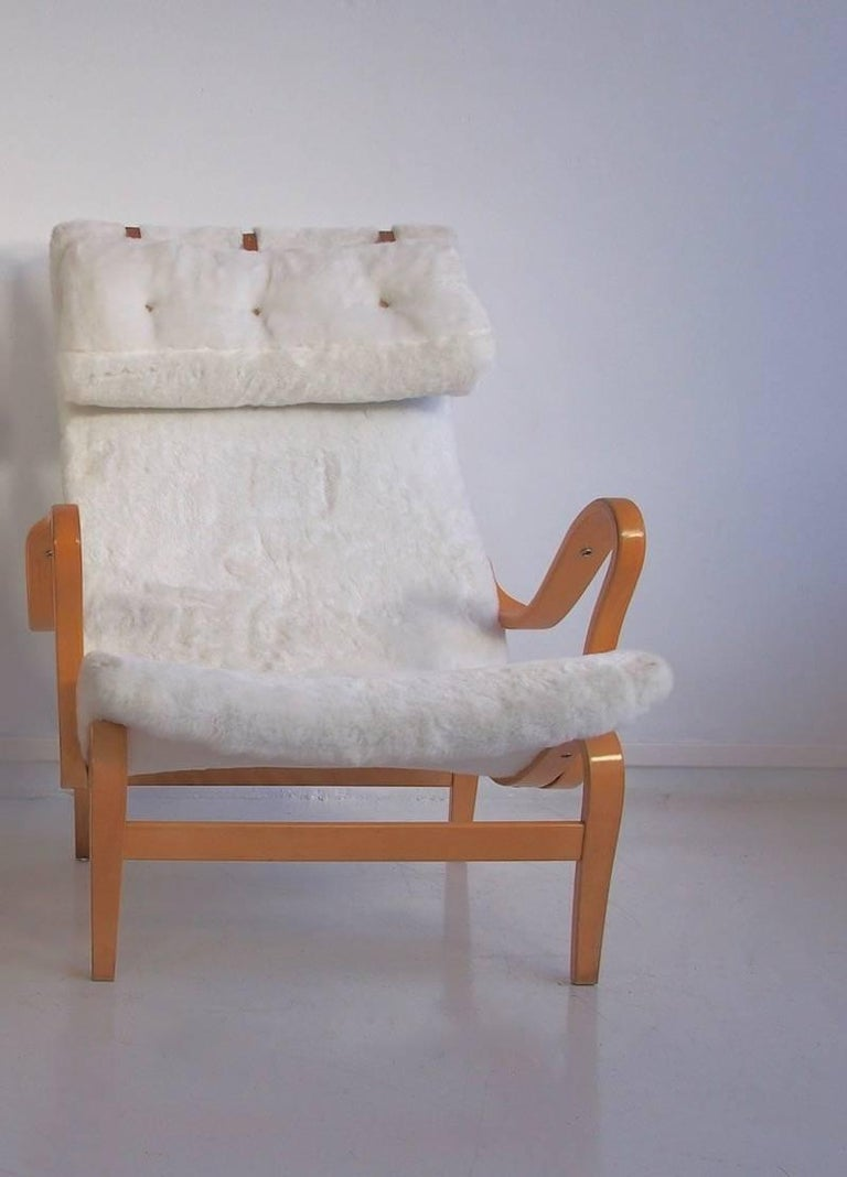 Bruno Mathsson White Faux Fur Pernilla Chair Produced By