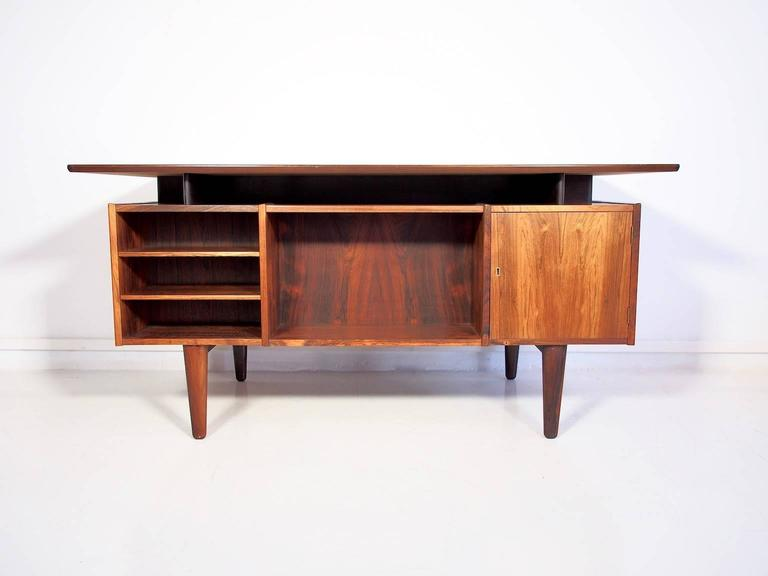 Danish Rosewood Writing Desk With Drawers And Shelves At