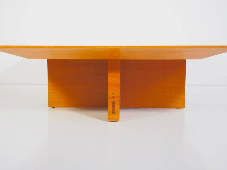 Gorgeous walnut wood coffee table designed by Spanish furniture designer Jaume Tresserra in 1987, also produced around that time. Made of light walnut wood with darker marquetry.