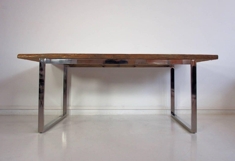 Ancient Bridge Wood Dining Table on Chrome Base For Sale  : P8011800master from www.1stdibs.com size 768 x 528 jpeg 30kB