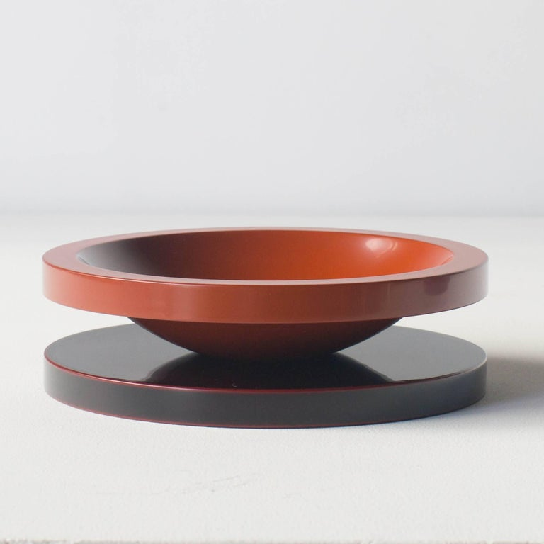 Post-Modern Basirico Big Fruits Tray Ettore Sottsass Japanese Urushi Laquer Model For Sale