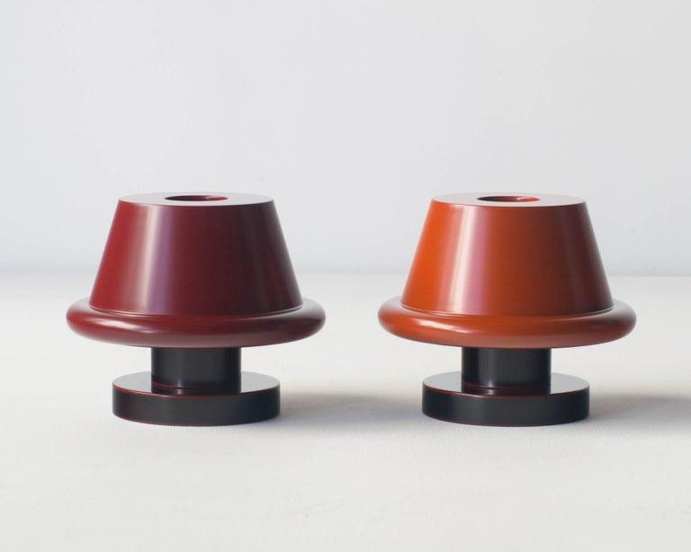 Post-Modern Senape Flower Vase Ettore Sottsass Japanese Urushi Laquer Model A For Sale