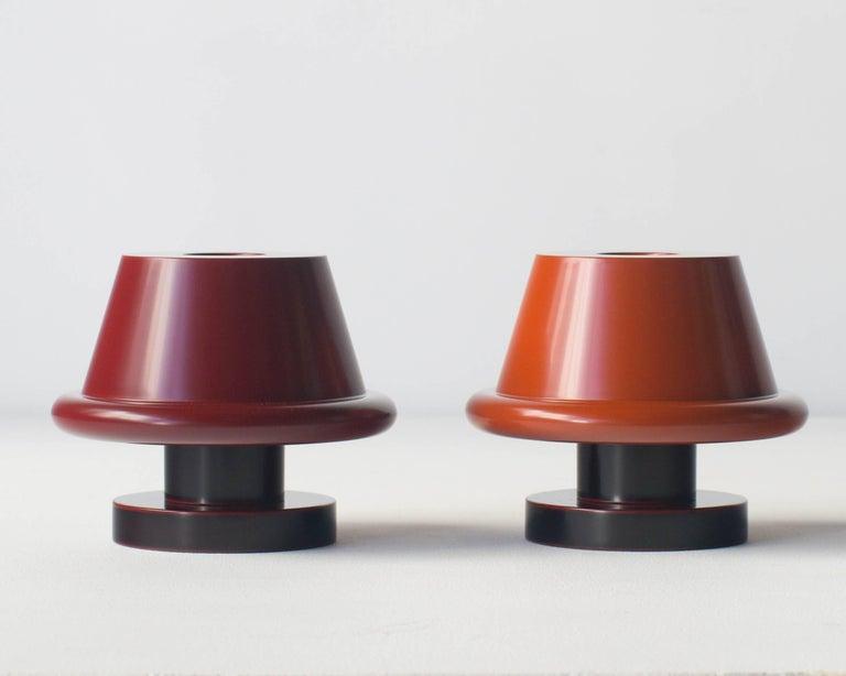 Painted Senape Flower Vase Ettore Sottsass Japanese Urushi Laquer Model A For Sale