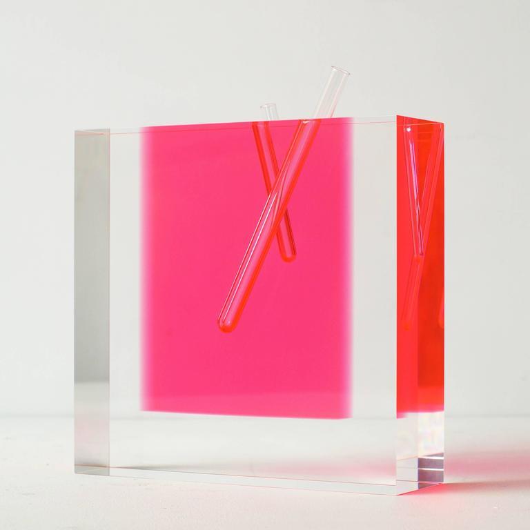Shiro Kuramata Acrylic Pink Vase Large At 1stdibs