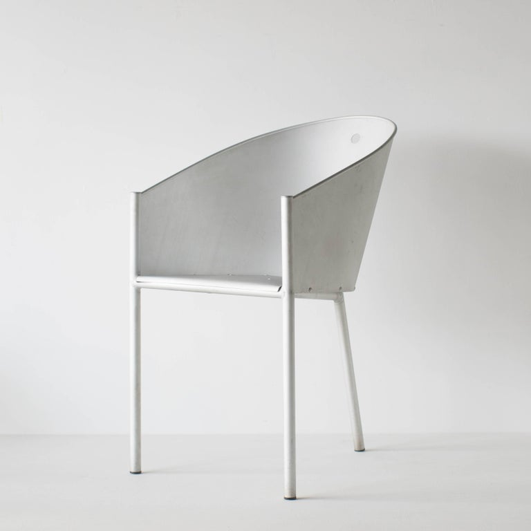 Costes aluminio designed by Philippe Starck for Driade Aleph. This chair was variation model of famous costs chair. All legs and back are made of aluminium. It has sharp taste and futuristic looking. Original red seat pad is attached. Two pieces in