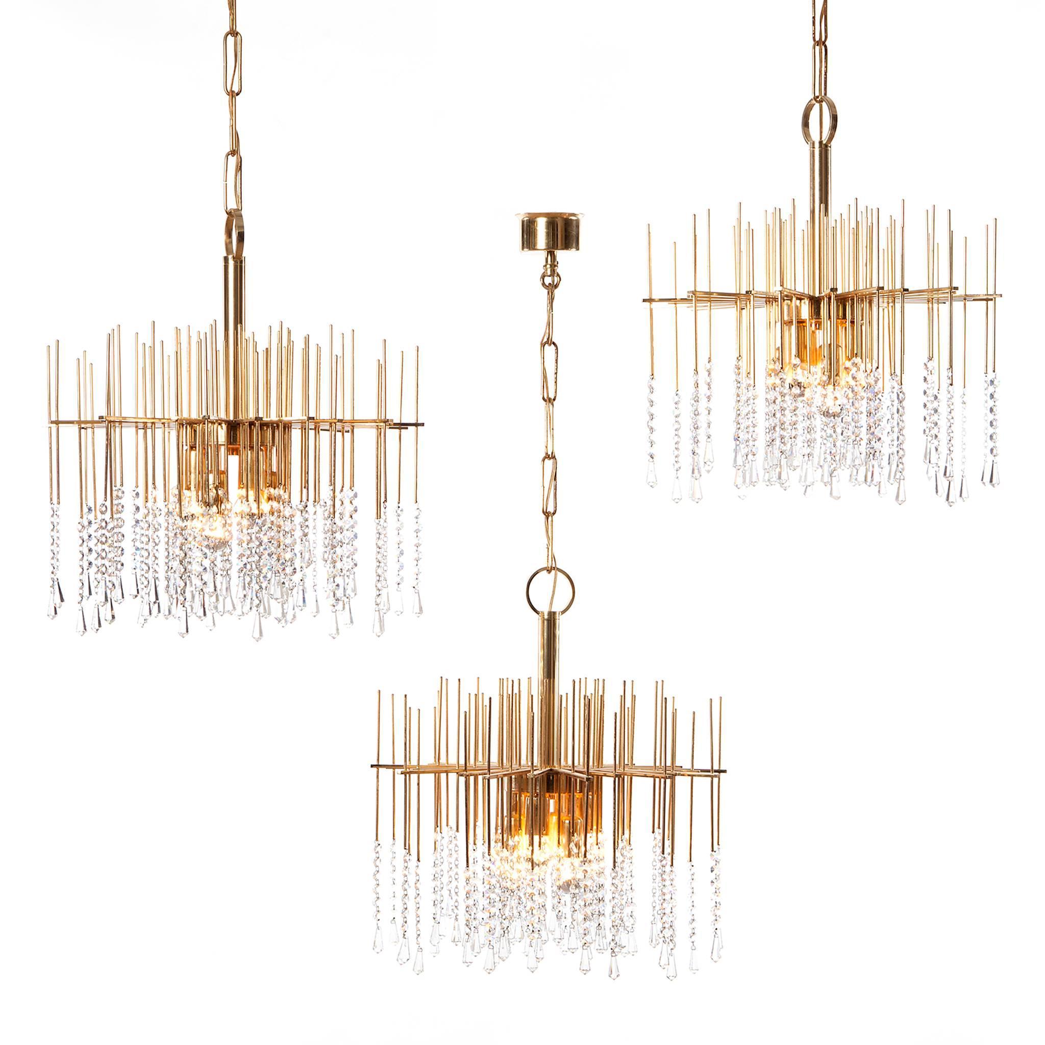 1960s Gilt Brass and Crystal Chandelier Light Attributed to Gaetano Sciolari