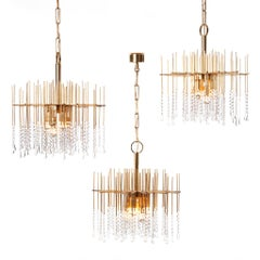 1960s Gilt Brass and Crystal Chandelier Light Attributed to Gaetano Sciolari
