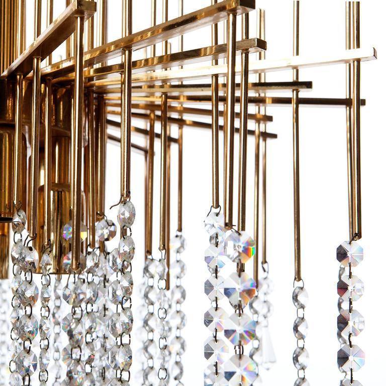 Gilt Attributed to Gaetano Sciolari 1960s Chandelier Light For Sale