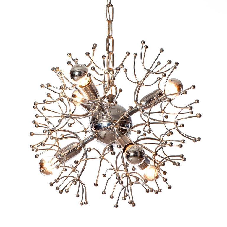 1960's six light sputnik Chandelier by Gaetano Sciolari