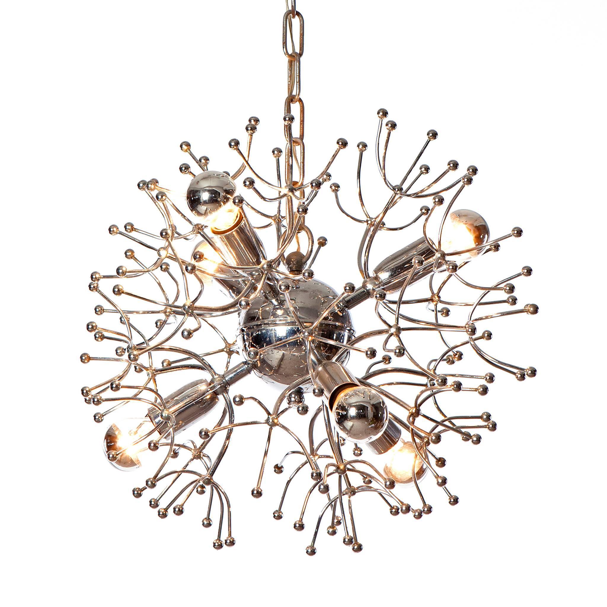 1960's six light sputnik Chandelier by Gaetano Sciolari