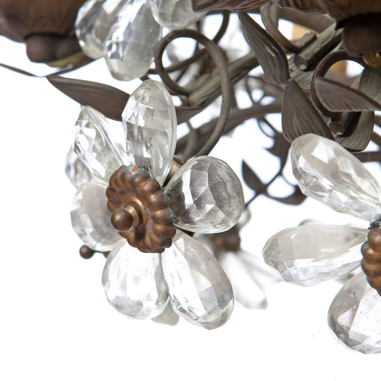 Mid Century Modern 1920s Maison Baguès Six Light Bronze And Crystal Flower Chandelier For