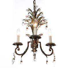 Three-Light Gold and Silver Plated Brass and Crystal Chandelier, 1920s