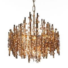 1960s Rare Palwa Five-Light Gold-Plated Brass and Crystal Chandelier