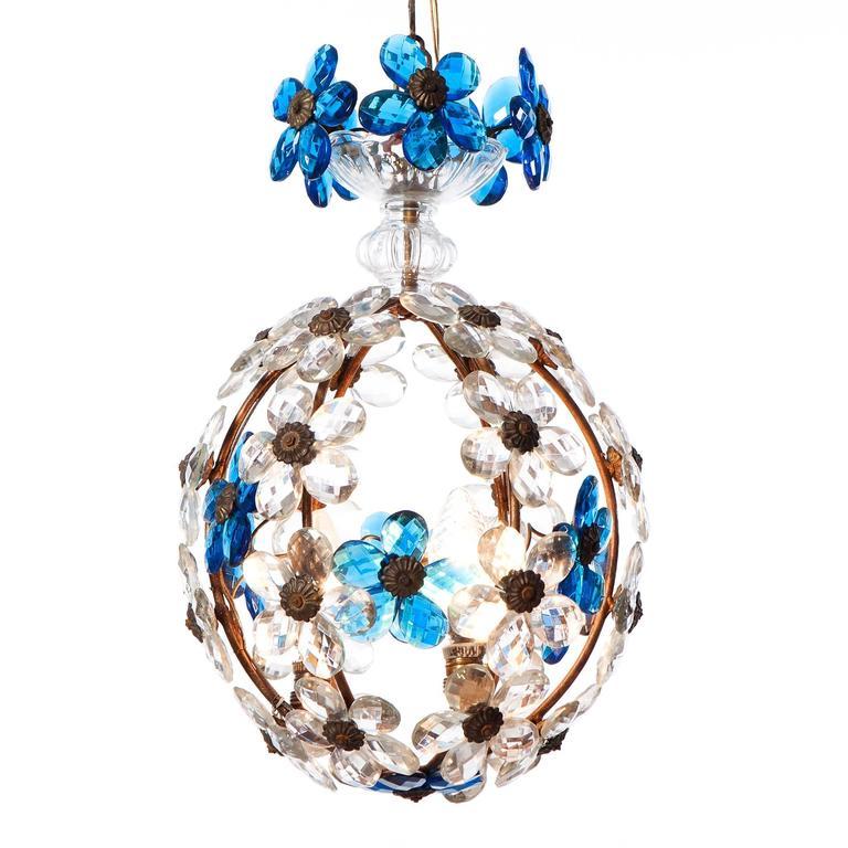 Italian Three-Light Lantern with Blue Crystal Flowers, circa1940s