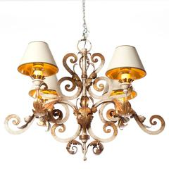 1900s Four-Light Polychrome Gold-Plated Wrought Iron Chandelier by Caldwell