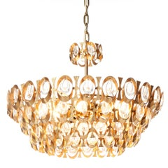 1960's PALWA eight-Light, Gold-Plated Brass and Crystal Chandelier