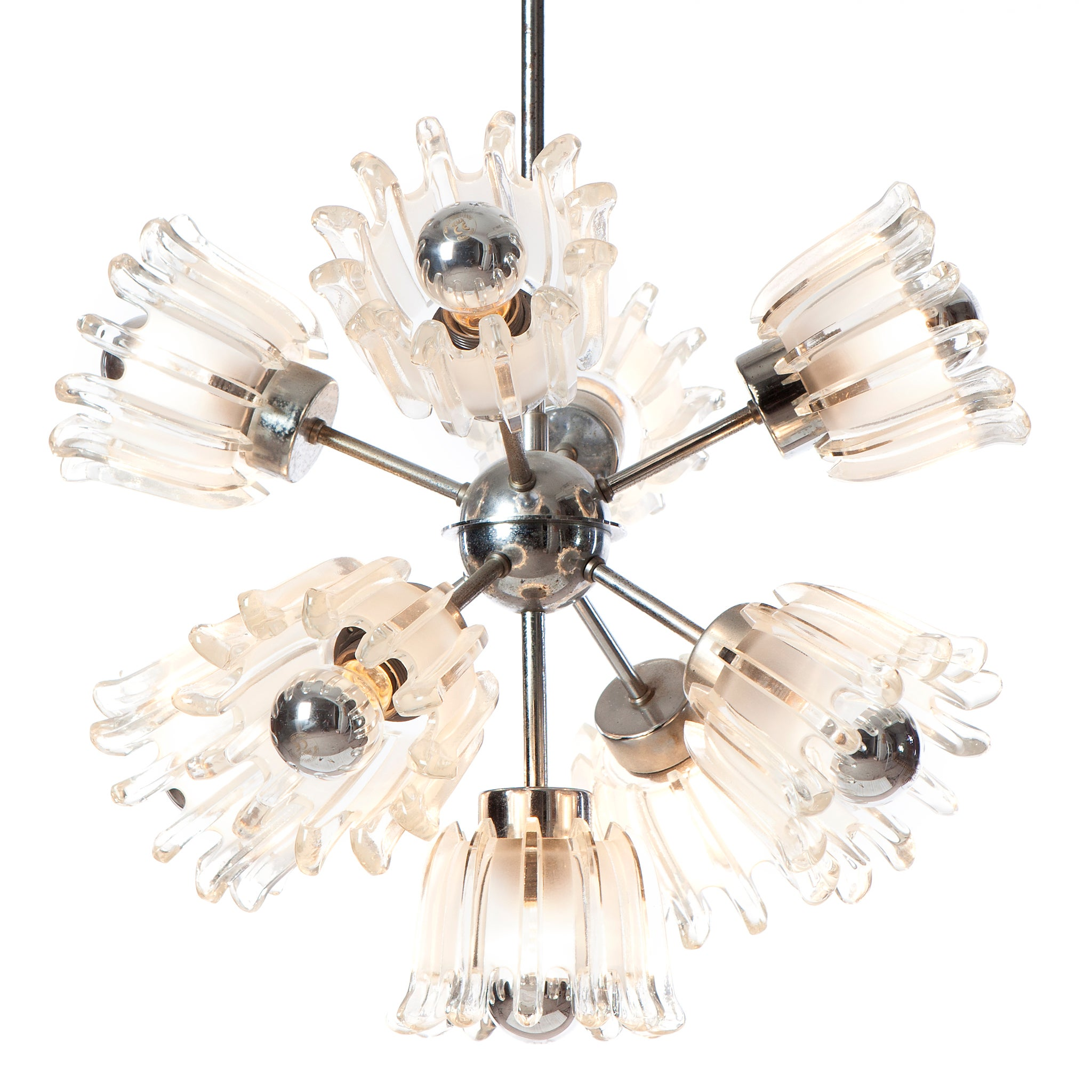 1960s Sputnik Chrome & Pressed glass Chandelier
