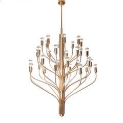 1960s Large Brass 32-Lights Chandelier
