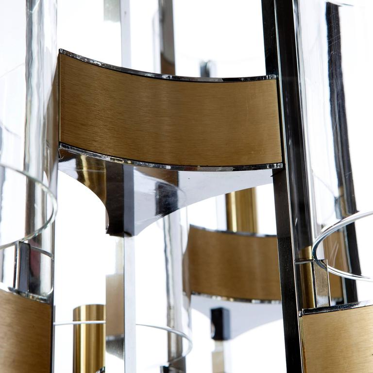 Mid-Century Modern 1960's 9 light Chrome and Glass Chandelier by Gaetano Sciolari For Sale