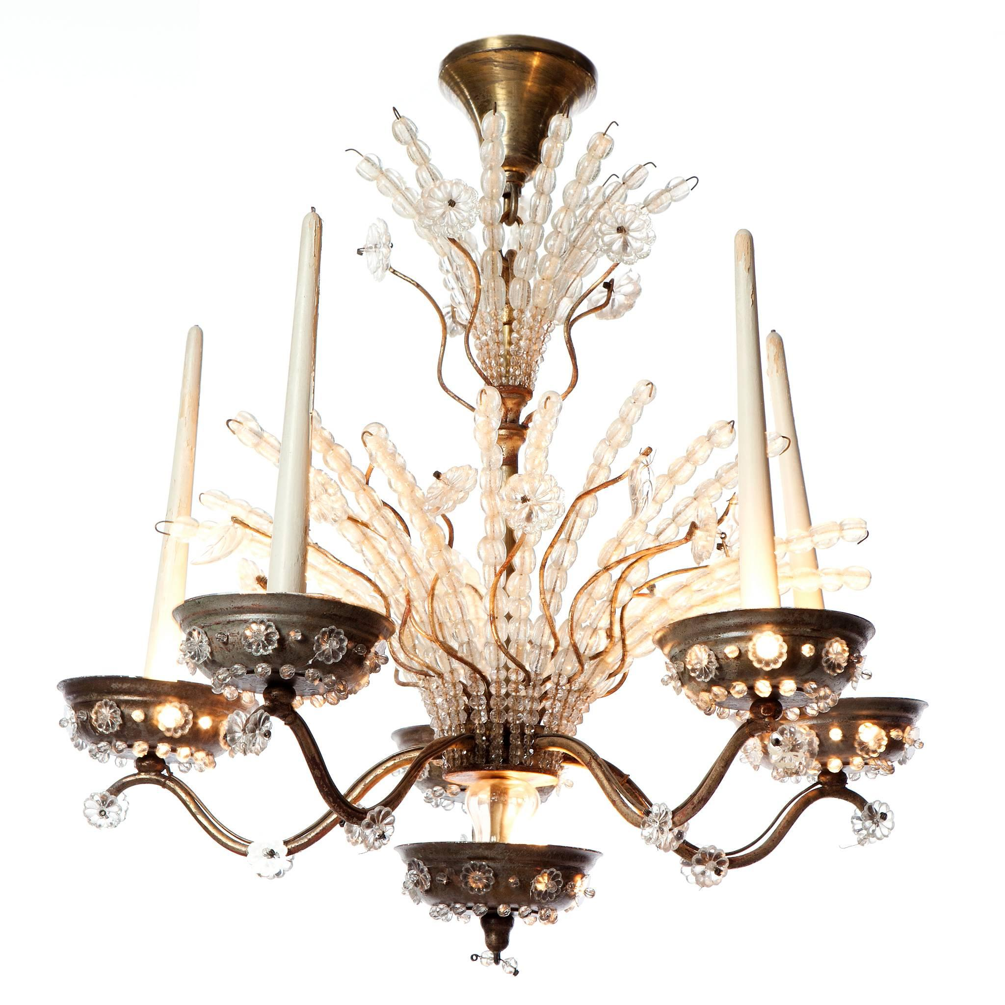 1920s Ten-Light Silver Plated and Crystal Chandelier attributed to Maison Bagues