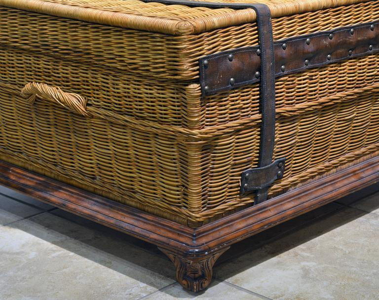 Colonial Style Leather Strapped Wicker Trunk Coffee Table At 1stdibs