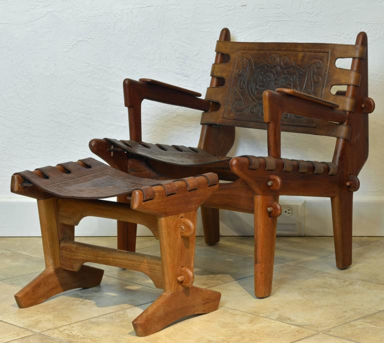 Mid Century Modern Wood And Leather Chair And Footstool By Angel
